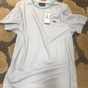 NWT, Lacoste Men's athletic top. Light grey.